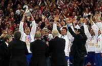 Second placed Serbian national handball team players after men`s EHF EURO 2012 handball championship  in Belgrade, Serbia, Sunday, January 29, 2011.  (photo: Pedja Milosavljevic / thepedja@gmail.com / +381641260959)