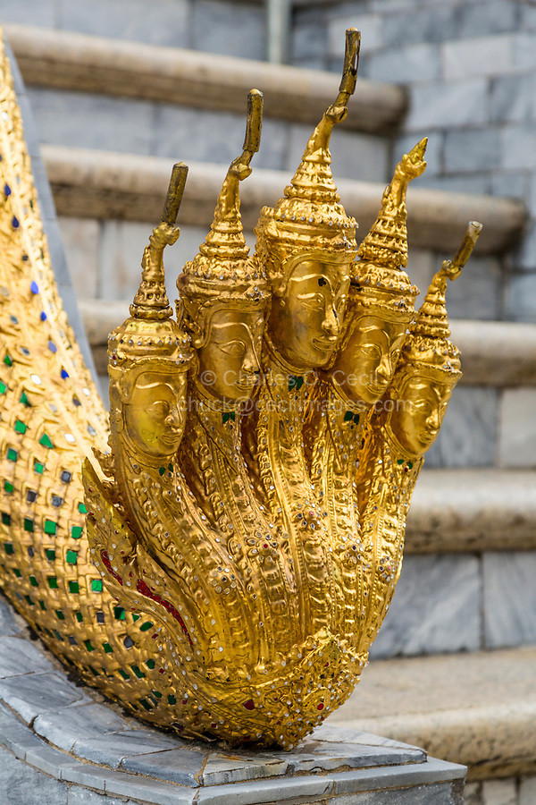 Bangkok, Thailand.  Naga (Five-headed snake) Sculpture, Phra Mondop, Royal Grand Palace.