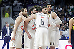 Real Madrid's Sergio Rodriguez, Sergio Llull, Andres Nocioni, Rudy Fernandez and Gustavo Ayon during Euroleague Quarter-Finals 3rd match. April 19,2016. (ALTERPHOTOS/Acero)