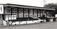 The main stand at Woodford Town FC, Snakes Lane, Woodford, Essex, pictured on 30th September 1987