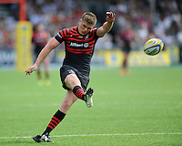 Owen Farrell of Saracens takes a penalty kick during the Aviva Premiership semi final match between Saracens and Harlequins at Allianz Park on Saturday 17th May 2014 (Photo by Rob Munro)