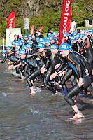Triathlon Participants, Blue Lake, Rotorua, New Zealand.