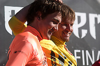 """Greg Long, left, and Grant """"Twiggy"""" Baker wait to hear who won the 2008 Mavericks Surf Contest in Half Moon Bay, Calif., Saturday, January 12, 2008...Photo by David Calvert/isiphotos.com"""