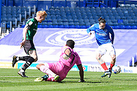 Ryan Williams of Portsmouth right scores the first goal during Portsmouth vs Rochdale, Sky Bet EFL League 1 Football at Fratton Park on 2nd April 2021
