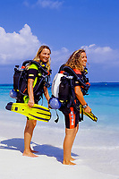 Two scuba diver on the beach, Maldives Island, Indian Ocean, Lhaviyani Atoll, Kuredu