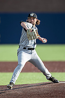 Western Michigan Broncos pitcher Matt McConnell (26) delivers a pitch to the plate against the Michigan Wolverines on March 18, 2019 in the NCAA baseball game at Ray Fisher Stadium in Ann Arbor, Michigan. Michigan defeated Western Michigan 12-5. (Andrew Woolley/Four Seam Images)