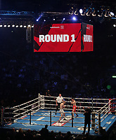 9th October 2021; M&S Bank Arena, Liverpool, England; Matchroom Boxing, Liam Smith versus Anthony Fowler; LIAM SMITH (Liverpool, England)and ANTHONY FOWLER (Liverpool, England) in mid-ring long shot during their WBA International Super-Welterweight Title contest