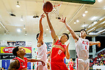 Wong Tsz Him #21of Nam Ching Basketball Team (C) tries to score during the Hong Kong Basketball League game between SCAA and Nam Ching at Southorn Stadium on May 4, 2018 in Hong Kong. Photo by Yu Chun Christopher Wong / Power Sport Images