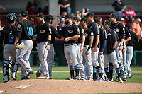 Akron RubberDucks celebrate a victory after a game against the Erie SeaWolves on August 27, 2017 at UPMC Park in Erie, Pennsylvania.  Players include Francisco Mejia (17), Cameron Hill (10), Eric Haase (13), Joe Sever (9).  Akron defeated Erie 6-4.  (Mike Janes/Four Seam Images)