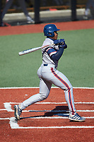 B.J. Murray (9) of the Florida Atlantic Owls at bat against the Charlotte 49ers at Hayes Stadium on April 2, 2021 in Charlotte, North Carolina. The 49ers defeated the Owls 9-5. (Brian Westerholt/Four Seam Images)