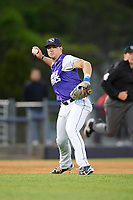 Binghamton Rumble Ponies third baseman David Thompson (8) throws to first base during a game against the Akron RubberDucks on May 12, 2017 at NYSEG Stadium in Binghamton, New York.  Akron defeated Binghamton 5-1.  (Mike Janes/Four Seam Images)