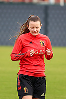 Hannah Eurlings pictured during the training session of the Belgian Women's National Team ahead of a friendly female soccer game between the national teams of Germany and Belgium , called the Red Flames in a pre - bid tournament called Three Nations One Goal with the national teams from Belgium , The Netherlands and Germany towards a bid for the hosting of the 2027 FIFA Women's World Cup ,on 19th of February 2021 at Proximus Basecamp. PHOTO: SEVIL OKTEM | SPORTPIX.BE