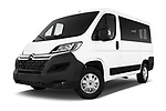 Stock pictures of low aggressive front three quarter view of a 2017 Citroen Jumper Combi Confort 4 Door Combi