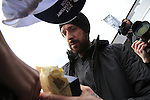 Sir Bradley Wiggins (GBR) Team Sky signs autographs at the Team Presentations in Compiegne before the 2015 Paris-Roubaix cycle race held over the cobbled roads of Northern France. 11th April 2015.<br /> Photo: Eoin Clarke www.newsfile.ie