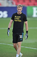 WASHINGTON, DC - SEPTEMBER 12: Ryan Meara #18 of New York Red Bulls warming up during a game between New York Red Bulls and D.C. United at Audi Field on September 12, 2020 in Washington, DC.