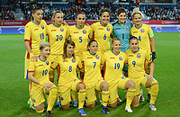 20171020 - LEUVEN , BELGIUM : Romanian team pictured with Cosmina Dusa (18) , Brigitta Goder (20) , Teodora Meluta (5) ,  Maria Ficzay (6) , Andreea Paraluta (1) , Ioana Bortan (4) , Andreea Voicu (10) , Beatrice Tarasila (8) , Adina Giurgiu (7) , Maria Ciolacu (19) and Laura Rus (9) during the female soccer game between the Belgian Red Flames and Romania , the second game in the qualificaton for the World Championship qualification round in group 6 for France 2019, Friday 20 th October 2017 at OHL Stadion Den Dreef in Leuven , Belgium. PHOTO SPORTPIX.BE | DAVID CATRY