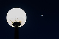 On the left, the globe of an outdoor light fixture perhaps three or four feet away from the camera lens.  To the right is the waxing gibbous moon, 238,855 miles (384,400 km) away.