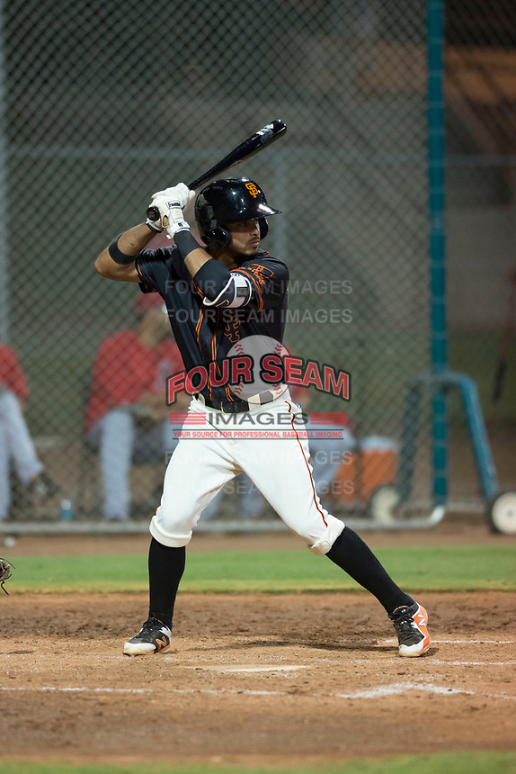 AZL Giants Black shortstop Enoc Watts (83) at bat during an Arizona League game against the AZL Angels at the San Francisco Giants Training Complex on July 1, 2018 in Scottsdale, Arizona. The AZL Giants Black defeated the AZL Angels by a score of 4-2. (Zachary Lucy/Four Seam Images)
