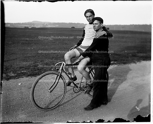 0004-1. Bicylcle racer Nealand and trainer resting. about 1899. Troy, NY area.