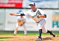15 July 2010: Vermont Lake Monsters' pitcher Neil Holland on the mound against the Aberdeen IronBirds at Centennial Field in Burlington, Vermont. The Lake Monsters rallied in the bottom of the 9th inning to defeat the IronBirds 7-6 notching their league leading 20th win of the 2010 NY Penn League season. Mandatory Credit: Ed Wolfstein Photo