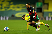 17th April 2021; Carrow Road, Norwich, Norfolk, England, English Football League Championship Football, Norwich versus Bournemouth;  Arnaut Danjuma of Bournemouth takes the ball away from Emi Buendia of Norwich City