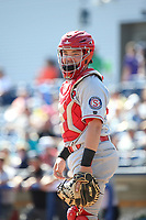 Matt Whatley (40) of the Spokane Indians during a game against the Hillsboro Hops at Ron Tonkin Field on July 23, 2017 in Hillsboro, Oregon. Spokane defeated Hillsboro, 5-3. (Larry Goren/Four Seam Images)