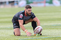 Jarrod Sammut of London Broncos prepares to convert to make the score 12-0 during the Kingstone Press Championship match between London Broncos and Sheffield Eagles at Castle Bar , West Ealing , England  on 9 July 2017. Photo by David Horn.