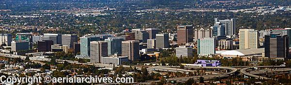 panoramic aerial photograph of the downtown San Jose skyline, Santa Clara county, California
