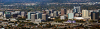 panoramic aerial photograph of the downtown San Jose skyline, Santa Clara county, California
