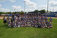 Batavia Muckdogs players, back row L-R Colton Hock, Thomas Jones, Vincenzo Aiello, Taylor Braley, Ryan McKay, Tyler Curtis, Terry Bennett, Bubba Hollins, Sam Perez, Remey Reed, Travis Neubeck, Bryce Howe, pose for a group photo with the participants of the teams youth baseball clinic on August 30, 2017 at Dwyer Stadium in Batavia, New York.  (Mike Janes/Four Seam Images)