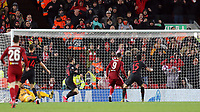Liverpool's Roberto Firmino scores his side's second goal <br /> <br /> Photographer Rich Linley/CameraSport<br /> <br /> UEFA Champions League Round of 16 Second Leg - Liverpool v Atletico Madrid - Wednesday 11th March 2020 - Anfield - Liverpool<br />  <br /> World Copyright © 2020 CameraSport. All rights reserved. 43 Linden Ave. Countesthorpe. Leicester. England. LE8 5PG - Tel: +44 (0) 116 277 4147 - admin@camerasport.com - www.camerasport.com