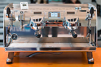 March 15, 2015: The espresso machine used in the 2015 Australian Barista Championships at the Showgrounds, Melbourne, Australia. Photo Sydney Low.