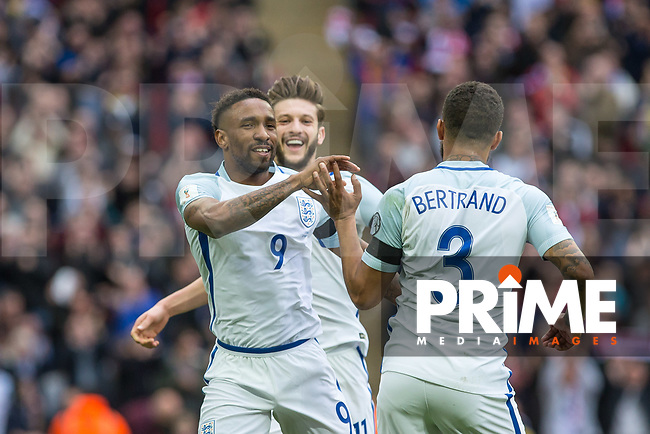 Jermaine Defoe of England celebrates his goal during the International World Cup Qualifying match between England and Lithuania at Wembley Stadium, London, England on 26 March 2017. Photo by Andy Rowland / PRiME Media Images.