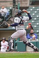 Catcher Gary Sanchez (35) of the Scranton Wilkes-Barre Railriders throws to second against the Rochester Red Wings on May 1, 2016 at Frontier Field in Rochester, New York. Red Wings won 1-0.  (Christopher Cecere/Four Seam Images)