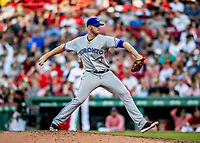 22 June 2019: Toronto Blue Jays pitcher Nick Kingham on the mound in the 7th inning against the Boston Red Sox at Fenway :Park in Boston, MA. The Blue Jays rallied to defeat the Red Sox 8-7 in the 2nd game of their 3-game series. Mandatory Credit: Ed Wolfstein Photo *** RAW (NEF) Image File Available ***