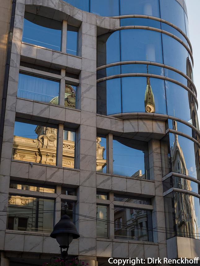 Fassade auf der Kolarceva, Belgrad, Serbien, Europa<br /> facade at Kolarceva St, Belgrade, Serbia, Europe