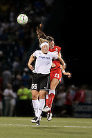 Brittany Bock (21) of the Western New York Flash, right and Ella Masar (55) of the magicJack battle go up for a header in the second half. The Western New York Flash defeated the magicJack 3-1 in Women's Professional Soccer (WPS) at Sahlen's Stadium in Rochester, NY July 20, 2011.