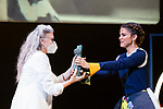 Juana Acosta gives 'Biznaga Ciudad del Paraiso Award' to Kiti Manver during Malaga Film Festival Gala at Teatro Cervantes.August 24 2020. (Alterphotos/Francis González)