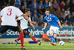 St Johnstone v FC Minsk...08.08.13 Europa League Qualifier<br /> Gary McDonald is closed down by Siarhei Kazeka<br /> Picture by Graeme Hart.<br /> Copyright Perthshire Picture Agency<br /> Tel: 01738 623350  Mobile: 07990 594431