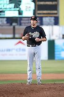 Josh Taylor (38) of the Visalia Rawhide pitches against the Lancaster JetHawks at The Hanger on May 7, 2016 in Lancaster, California. Lancaster defeated Visalia, 19-5. (Larry Goren/Four Seam Images)