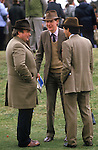 Tweed suits and fedora hats country style 1980s England at the races Aintree Lancashire.