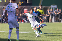 Portland, Oregon - Sunday October 6, 2019: Sebastian Blanco #10 takes a shot during a regular season match between Portland Timbers and San Jose Earthquakes at Providence Park in Portland, Oregon.