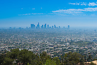 Los Angeles skyline from the Hollywood hills and Griffith observatory