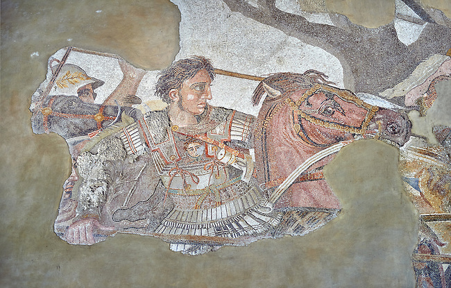 Alexander the Great from the Roman mosaic  of Battle beween Alexander the Great and Persian King Darius, 120-125 BC, Casa del Fauno, Pompeii, inv 10020, Naples National Archaeological Museum