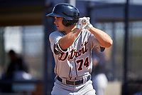 Detroit Tigers Jacob Robson (74) bats during a minor league Spring Training game against the New York Yankees on March 22, 2017 at the Yankees Complex in Tampa, Florida.  (Mike Janes/Four Seam Images)