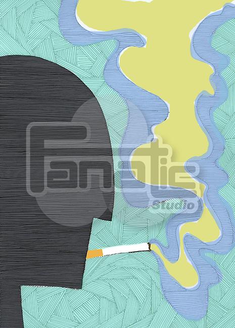 Side view of human figure smoking cigarette