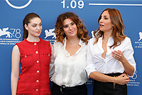 """VENICE, ITALY - SEPTEMBER 06: Anamaria Vartolomei, Director Audrey Diwan and Lucy De Crescenzo at the photocall of """"L'Evenement"""" during the 78th Venice International Film Festival on September 06, 2021 in Venice, Italy. <br /> CAP/GOL<br /> ©GOL/Capital Pictures"""