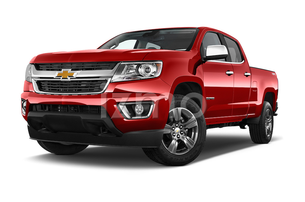 Stock pictures of low aggressive front three quarter view of a 2017 Chevrolet Colorado LT Crew Cab Long Box 4 Door Truck Low Aggressive