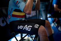 Remco Evenepoel (BEL/Deceuninck-Quickstep) getting ready in the startzone<br /> <br /> Men Elite Individual Time Trial <br /> from Knokke-Heist to Bruges (43.3 km)<br /> <br /> UCI Road World Championships - Flanders Belgium 2021<br /> <br /> ©kramon
