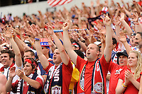 United States fans during an international friendly between the men's national teams of the United States (USA) and Turkey (TUR) at Lincoln Financial Field in Philadelphia, PA, on May 29, 2010.